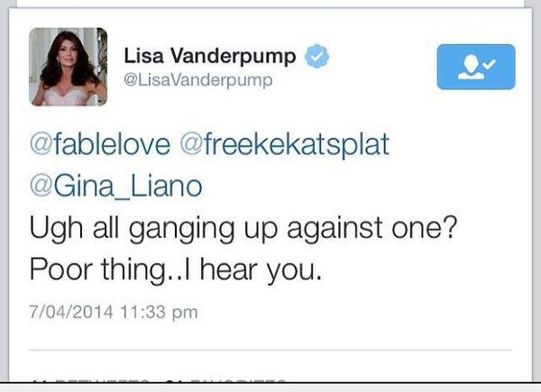 LOVE it that @LisaVanderpump has extended her support to @Gina_Liano! #teamgina #teamlisa #twobesthousewives xx. . http://t.co/zBSH2Ns9r4