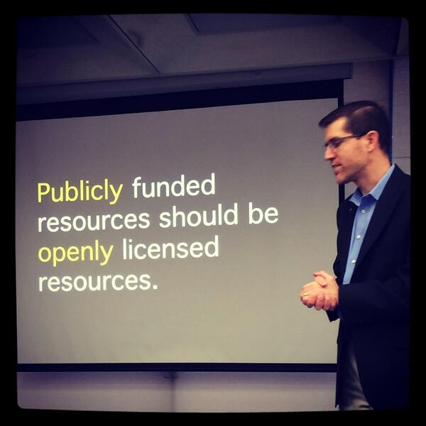 Creative Commons (@creativecommons): We love this photo of @cgreen: the case for open education in a nutshell. RT @Smallbrarian: Logical to me! http://t.co/NK6Ub0xfqs