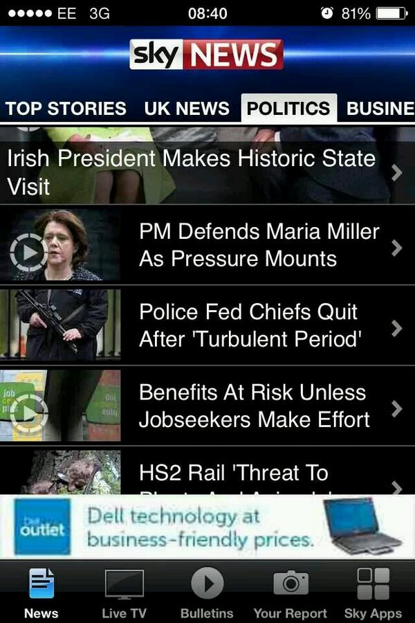 The awkward moment on the Sky News mobile app when it looks like Maria Miller has a gun. http://t.co/qeyR5K9zxo