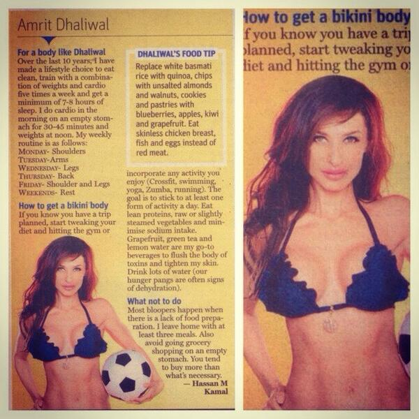 TODAY MID DAY MUMBAI in the papers! Dhaliwal tips on getting that bikini body! http://t.co/57EItlJsch