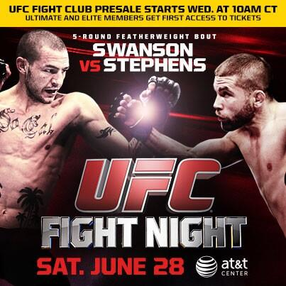PreSale tickets to my fight for @ufcfightclub members starts tomorrow morning! #FirstDibs #UFCFightNight http://t.co/yGLxtFbSk6