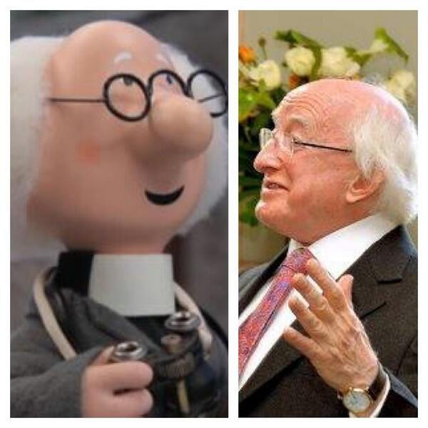 The vicar from Postman Pat and the President of Ireland are the same person!