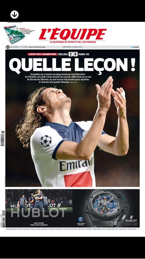 BkwuqtuIcAAnqkg LEquipe say PSG were beaten by Mourinhos tactical genius, Chelseas Terry & Schurrle score 8/10 [Pictures]