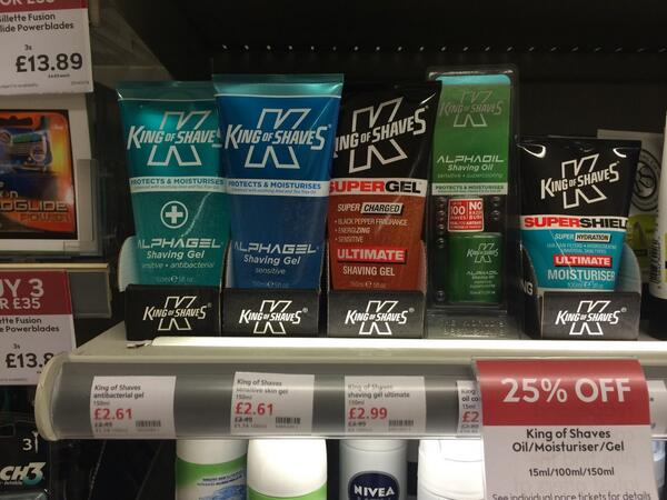 """Pls FLW us & RT """"King of Shaves is 25% OFF @waitrose"""" using #KoS25Waitrose to poss WIN £25 of products! Ends 11/4 6pm http://t.co/tk4P0HgI2I"""