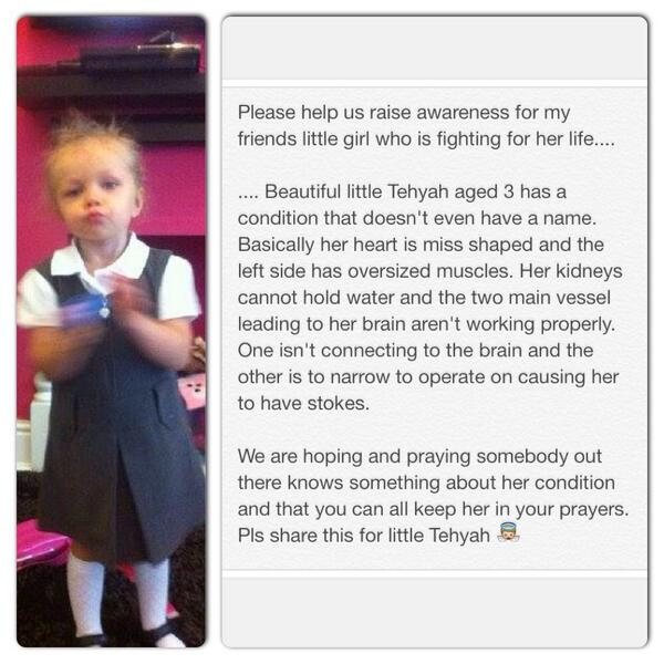 This little girl I have been tweeting about needs us to raise awareness Pls RT & support. She's poorly little girl