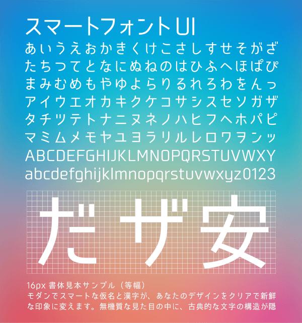 4/10はフォントの日。無料フォント公開。スマートフォントUI〜漢字も使えるデザイン系フォント。 http://t.co/RicasPgdij http://t.co/xXzwzfIvVM