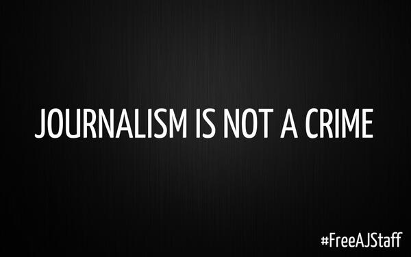 Journalism is not a crime.  Please join the #FreeAJstaff campaign. Pls RT. http://t.co/X6i71RDAIe @Greenpeace http://t.co/oJPrN10bU9