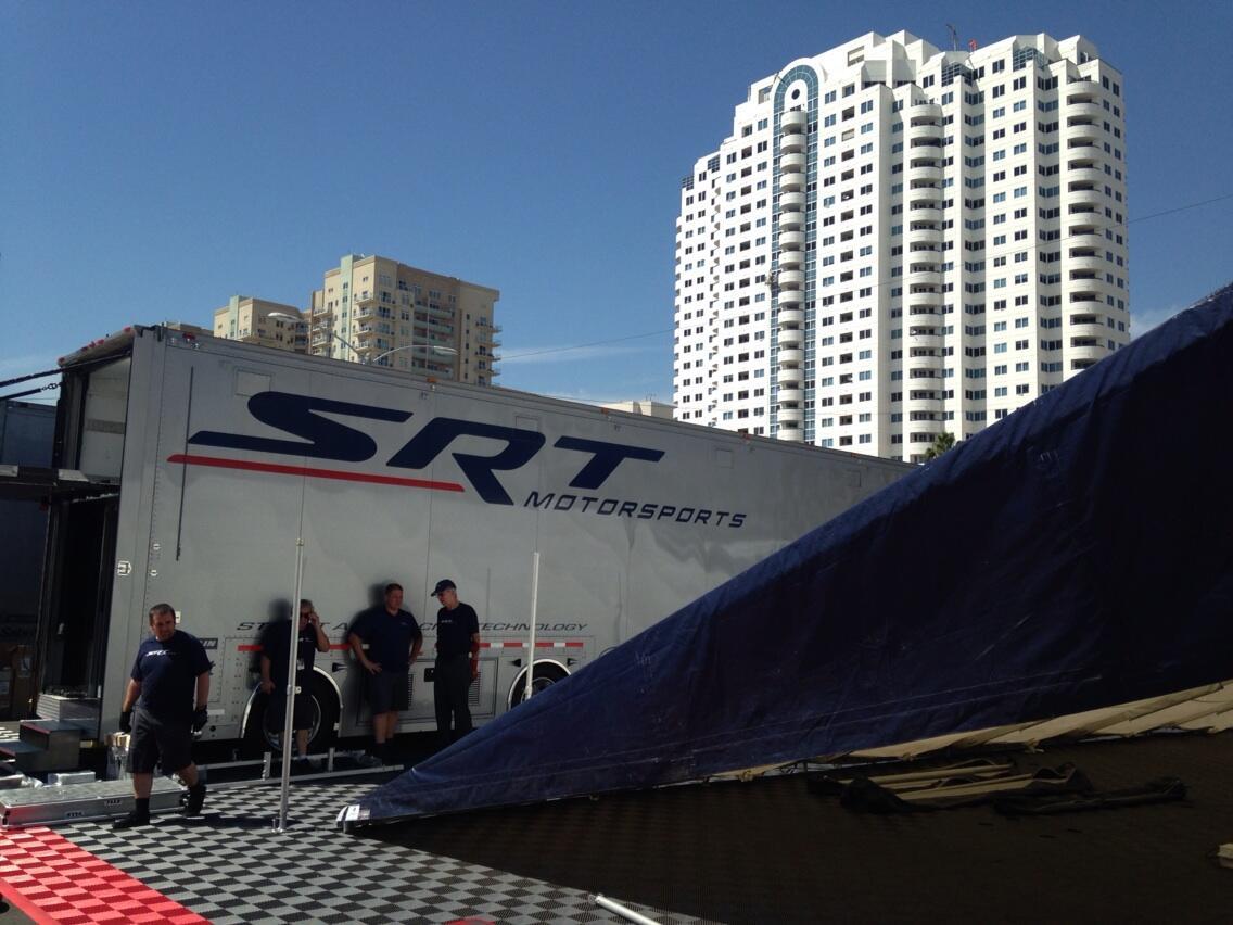 Back at #TheBeach! #TeamSRT sets up for  #IMSA #TGPLB40 @KunoWittmer @JBomarito @marcthegoose @Dom_Farnbacher http://t.co/Lf0goembaP