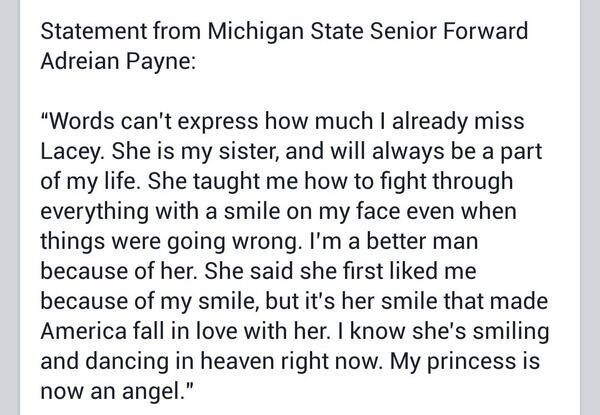 Here is the full statement from Adreian Payne regarding Lacey. #LoveLikeLacey #RIPLacey http://t.co/oD7AjzxU2a