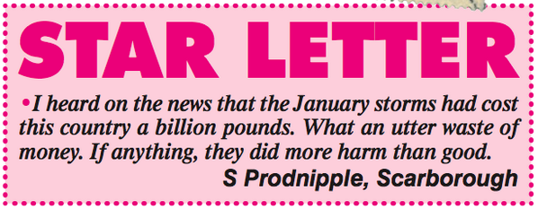 A letter from S Prodnipple of Scarborough. http://t.co/33XTdP6ZIY