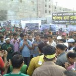 #RanaPlaza demo blocks Dhaka highway for four hours this morning, as garment workers remember the dead http://t.co/AT9cF2fhG9