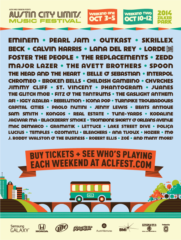 The #ACLFest 2014 Lineup is here. Get ready to snag your tix in just a few hours @ 10AM CT! http://t.co/dKFJZU8umb http://t.co/cGCLYIMhv0