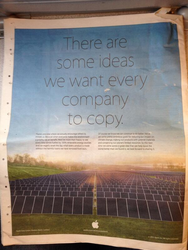 Apple Marks Earth Day by Trolling Samsung in Newspaper Ad http://t.co/RfwwAbBk8d http://t.co/Fp7jEkuQaR