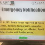 Bomb threat reported in Haley Center on campus. http://t.co/oJ5fRzdq4L