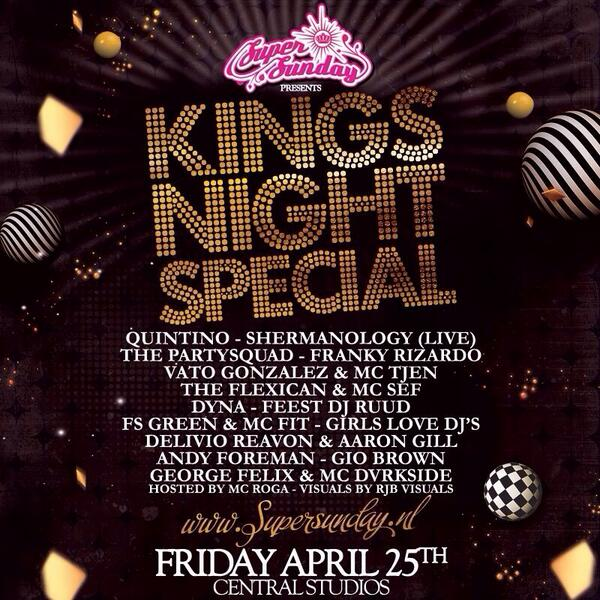 Vrijdag draaien wij op @SuperSundayNL Kingsnight Special. RT en maak kans op 2 tickets! http://t.co/J0FDenOlKB