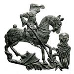Happy #StGeorgesDay! Here's the saint on a pilgrim badge rescuing Lady Una http://t.co/HMzCmKTCbT http://t.co/6ZDoxIAHLk