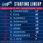 #Dodgers lineup vs. Phillies: http://t.co/3sRwoRv4pl