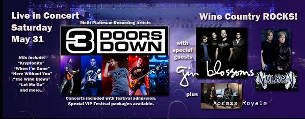 Saturday, 5/31 Temecula Valley Wine & Balloon Festival Opening for 3 Doors Down and Gin Blossoms. http://t.co/7aEfytxyzJ