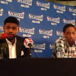 Amir Johnson and DeMar DeRozan after Raptors victory. http://t.co/XSfXBffIEY