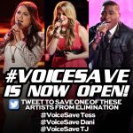 "RT @originalmsp: ""@NBCTheVoice: #VoiceSave is OPEN http://t.co/swHZdhpZsC"" #voicesave TJ"