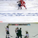 Marchand was hit on his left leg but was staying off his right leg while skating off.. http://t.co/dlE2Eibk7V