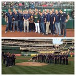 Swim batta batta swim! @CalAthletics 2014 Natl Champion Mens Swim Team tosses out 1st pitch. #GreenCollar #GoBears http://t.co/C8J1D0w5ky