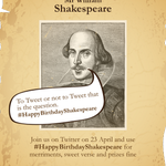Be sure to join in today & tweet #HappyBirthdayShakespeare to pay tribute to the Bard of Avon https://t.co/whCv3V200D http://t.co/J7ENfv8bmM