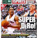Heres tomorrows @TheTorontoSun sports cover on #RAPTORSvNETS. Quite a game for DeRozan http://t.co/76jApnX2Ov