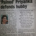 Pained priyanka? Who is priyanka, wife of prime accused. What about Pained Bharatiya, Pained farmers, Pained economy? http://t.co/nDslb8k79p