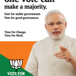 RT @BJP4India: Your one vote can make a majority. Tweet #EveryVoteCounts and get special video message of Shri @narendramodi. http://t.co/MXahaspABP