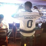 Here it is. RT @ArashMarkazi: Of course, Swaggy P is wearing an @LAKings jersey with Swaggy P stitched onto the back. http://t.co/yuMl3uZko0