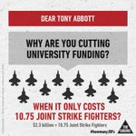 RT @leerhiannon: Mr Abbott reckons we have a budget emergency - so how did we find $12b to splash around on new joint strike fighters? http://t.co/A8C2XSq7Zl