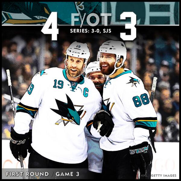 #SJSharks WIN!!! Marleau's backhand in OT gives the Sharks a 3-0 series lead! Game 4 is Thursday! http://t.co/bUGuNjqpfI