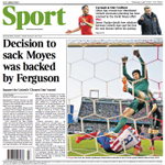 Todays @TimesSport back page: Decision to sack David Moyes was backed by Sir Alex Ferguson http://t.co/zYCvzejQFr http://t.co/GzZ4WmEKW6