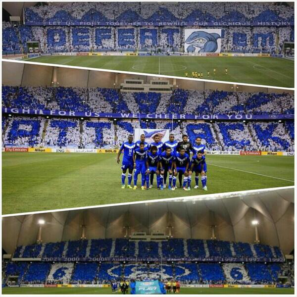 #ACL2014 | Three games, three stunning tifos! Great work by @Alhilal_FC and their fans @tifo_alhilal! http://t.co/IXA4j5hZCF