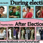 Traditional Priyanka Gandhi before election and Hip Priyanka Vadra after election. #PriyankaVsBJP http://t.co/w5qMTCOGT8