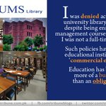 RT @tribuneblogs: At #LUMS I was not allowed to enter the library says @KiranW_ http://t.co/hEhdcgkkbt #Pakistan #lahore http://t.co/pIGcsXKvzf