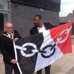 Lenny Henry with Dudley mayor Alan finch with Black Country flag at opening of the archives and local history centre http://t.co/pDwg2iko0G