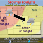 RT @NWSWichita: Storms expected tonight. Best chance for severe storms along & west of I-135. Hail & winds main threats. #kswx http://t.co/gUGfQu3O0X