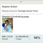 What a guy @_StephensStory is, smashed his target raising £1million for @TeenageCancer ! Wonderful human being. Baz http://t.co/PARRwN9JYB