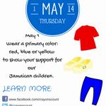 RT @CrayonsCount: ARE YOU READY? Thursday, May 1. Wear red, blue or yellow to show your support for Jamaican children. #allforkids http://t.co/xqmjwkuE81