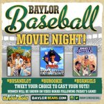 RT @BaylorBaseball: Friday is Movie Night at Baylor Ballpark - Fans can pick from 3 movies. Use hash tags to vote. Whats your pick? http://t.co/spCvDKUvNE