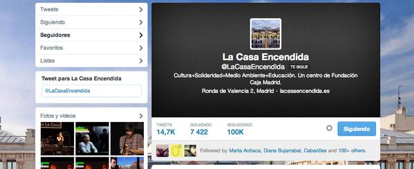 Y @LaCasaEncendida llegó a 100.000 followers...aún recuerdo mis nervios frente a aquellos 700 primeros...#fb http://t.co/yC6QvhIHqP