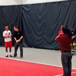 Riley Reist making his TV debut with a lesson on serving for @Danawsyx6. #GoBucks http://t.co/Q5W9IcDncQ