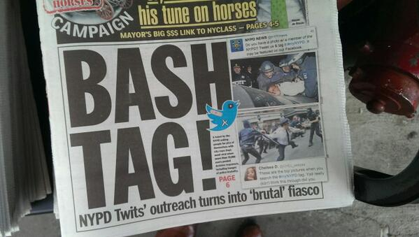 #myNYPD makes cover of today's Daily News http://t.co/9p6EcPJ7rR