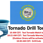The statewide Tornado drill across South Dakota begins today at 10 AM CDT. Put your plan to the test! #sdwx http://t.co/oCLNXxJ0Km