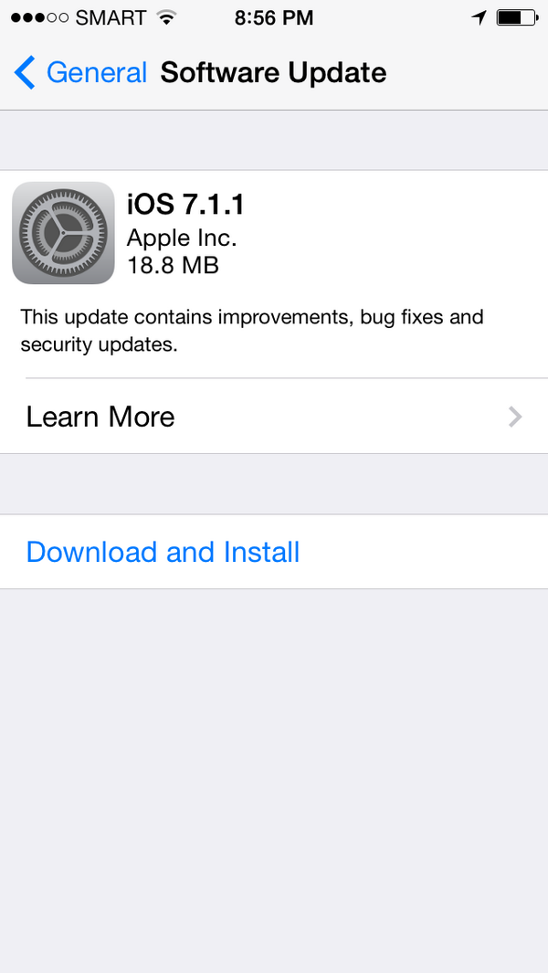 iOS 7.1.1 is out! http://t.co/35iSjakLtC