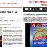 RT @kapsology: No outrage on Modis 150 crore office but 5 days cover story on Kejriwals 5 rooms flat #ArnabWedsModi http://t.co/yS2KW3lAET