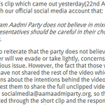 Shazia Ilmis statement on the video clip and AAPs stance: http://t.co/UQGX6089E2 AAPs stance: http://t.co/wPYkfjDSvn