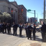 Covering Officer Carmacks funeral. Officers are waiting to get in to the church. @indystar http://t.co/7x1XPaNtBR